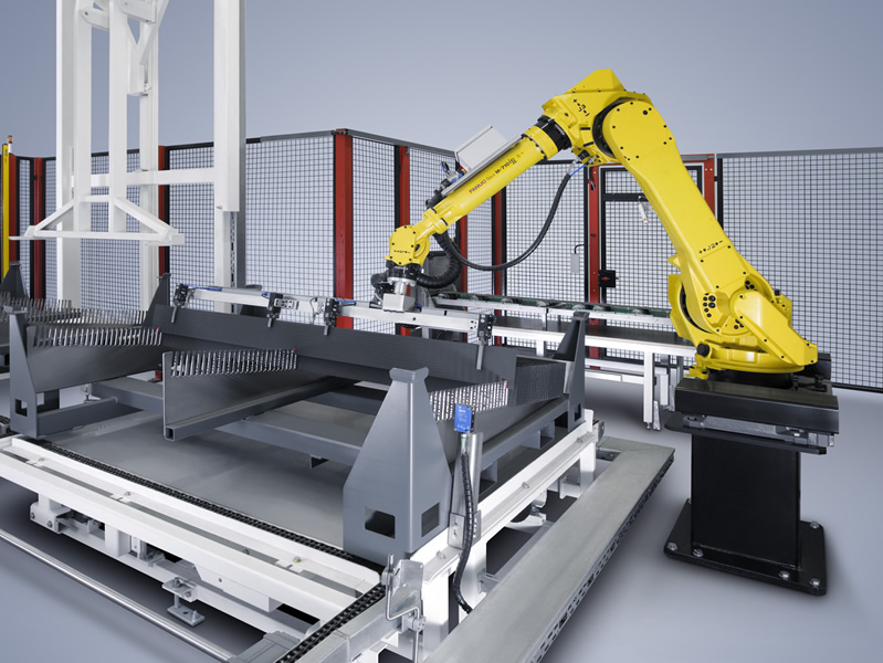 Robotic cell is sorting in magazine